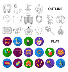 Circus and attributes flat icons in set collection vector