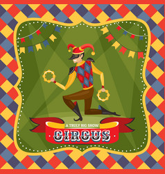 Circus card with harlequin vector