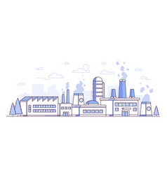 city factory - modern thin line design style vector image