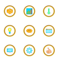 computer setting icons set cartoon style vector image