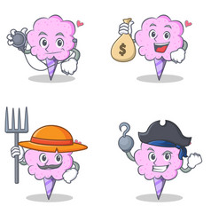 Cotton candy character set with doctor money bag vector