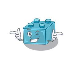 Cute mascot cartoon design lego brick toys vector