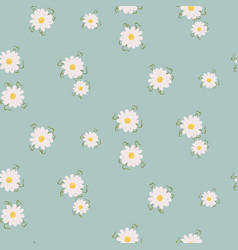 daisy floral seamless pattern with wildflowers and vector image