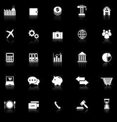 Economy icons with reflect on black background vector