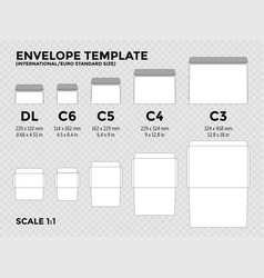 Envelope template with international euro vector