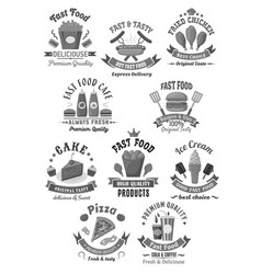 Fast food icons set for restaurant menu vector