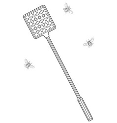 Flies and swatter vector
