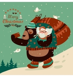 Funny bear taking selfie with happy Santa Claus vector image