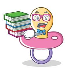 Geek baby pacifier character cartoon vector