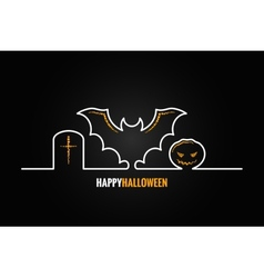 halloween pumpkin bat design background vector image