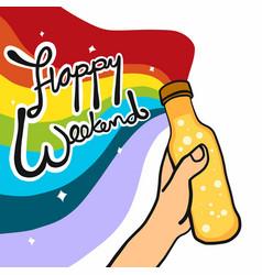 happy weekend beer rainbow colorful vector image