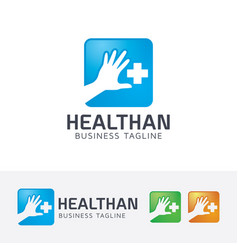 health hand logo design vector image