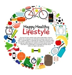 Healthy and active lifestyle card vector