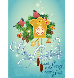 Holidays card with vintage wooden cuckoo clock vector