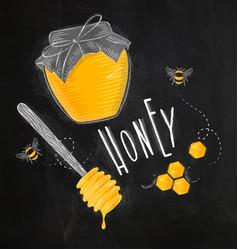 Honey elements chalk vector