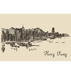 Hong Kong skyline hand drawn sketch vector image