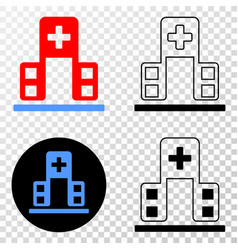 hospital building eps icon with contour vector image