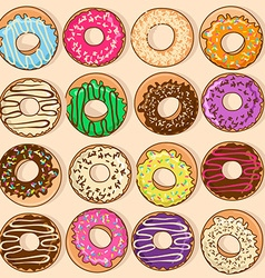 Icons of colorful donuts vector