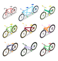 Isometric bicycle set with mountain bike vector