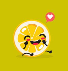 kawaii food cartoon lemon happy funny vector image