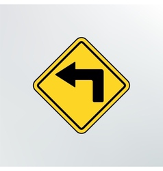 Left turn ahead icon vector