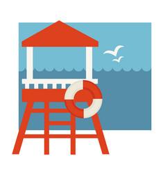Lifeguard post with lifebuoy near sea vector