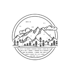 Line emblem with mountain landscape forest vector