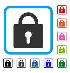 Lock framed icon vector