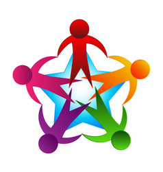 logo teamwork people unity vector image