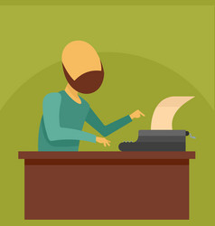 man at typewriter icon flat style vector image