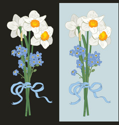 narcisus and myosotis hand drawn bouquet on dark vector image
