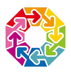 Octagon arrow colorful space rainbow design vector