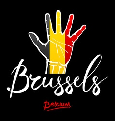 Open hand painted Belgium flag painted lettering vector image