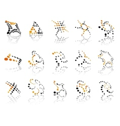 Orange and black dotted icons vector image