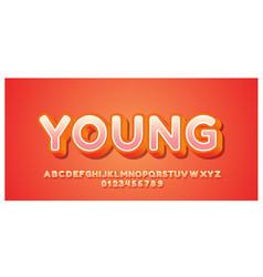 Orange modern rounded 3d font styles design vector
