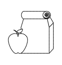 Paper lunch bag and apple school element vector