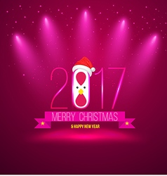 Pink Merry chrisoms and happy new year 2017 card vector