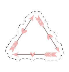 Pink triangle arrow love thin line vector