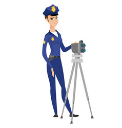 police woman with radar for traffic speed control vector image