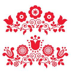Polish folk art designs with flowers vector