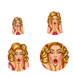 pop art avatar of surprised girl with vector image
