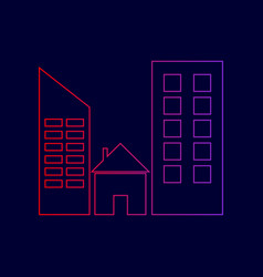 real estate sign line icon with gradient vector image