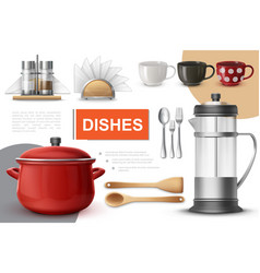 realistic dishes and tableware composition vector image