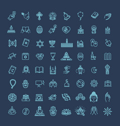 Religion icons set thin style vector