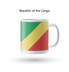 Republic of Congo flag souvenir mug on white vector image