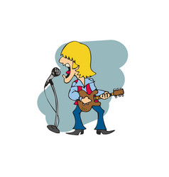 rock players singing with guitars vector image