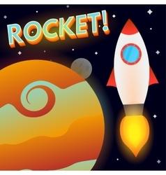 Rocket in deep space vector