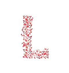 Romantic floral letter L vector