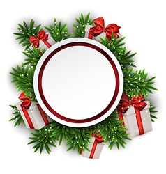 Round paper christmas card with gift boxes vector image