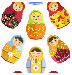 Russian nesting doll traditional wooden souvenir vector